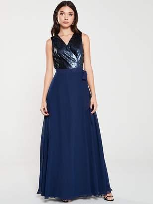 Little Mistress Sequin Maxi Wrap Dress - Navy
