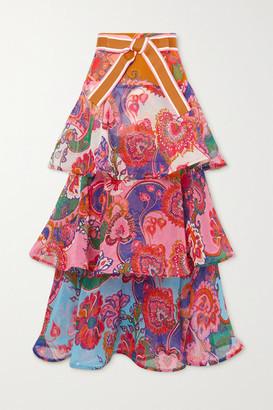 Zimmermann The Lovestruck Tiered Cotton And Silk-blend Georgette Maxi Skirt