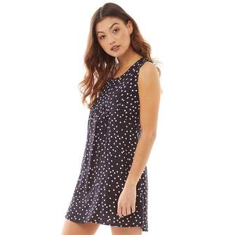 Ribbon Womens Spot Print Dress Navy/White