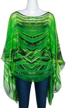 Roberto Cavalli Green Printed Silk Belted Kaftan Top M