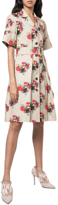 Adam Lippes Print Belted Shirt Dress
