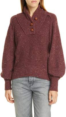 Rag & Bone Klark Shawl Collar Wool Blend Henley Sweater