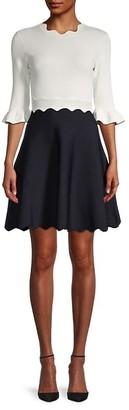 Ted Baker Scallop Neckline Ribbed Dress