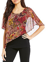 I.N. Studio Paisley Print Layered Popover Short Sleeve Top