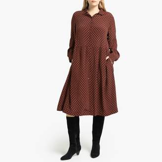 La Redoute Collections Plus Printed Shirt Midi Dress with Pockets and Long Sleeves