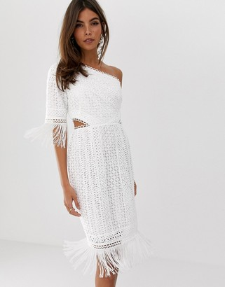 Asos Design DESIGN one shoulder mini dress in cutwork lace with fringe hem-White