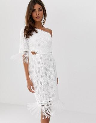 ASOS DESIGN one shoulder mini dress in cutwork lace with fringe hem