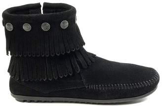 Minnetonka Bodouble Fringe Side Zip Ankle Boots in Suede