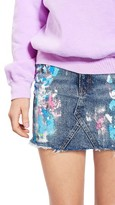 Topshop Women's Moto Splatter Paint Denim Miniskirt