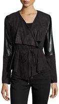 Laundry by Shelli Segal Faux-Suede & Faux-Leather Drape Jacket, Black