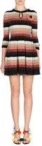 Fendi Metallic Striped-Knit Dress w/Fur Pompom