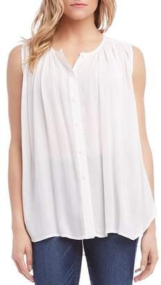 Karen Kane Shirred Sleeveless Button-Down Top