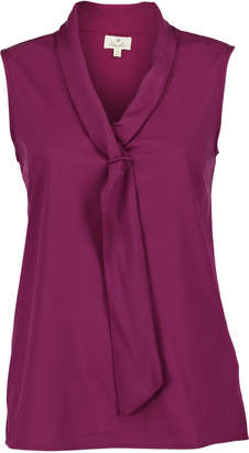 Très Jolie Women's Blouses Magenta - Magenta Sleeveless Tie-Neck Top - Women