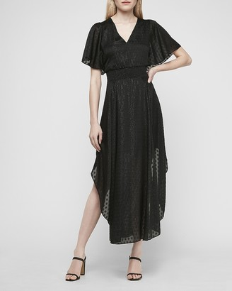 Express Metallic Clip Dot Smocked Waistband Maxi Dress