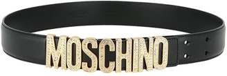 Moschino Embellished Logo Leather Belt