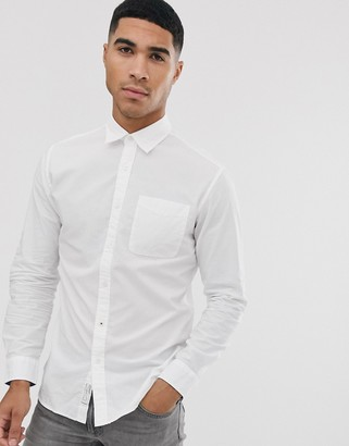 Jack and Jones long sleeve slim fit shirt in white