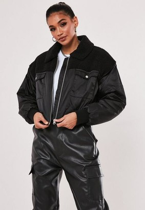 Missguided Black Borg Teddy Bomber Jacket