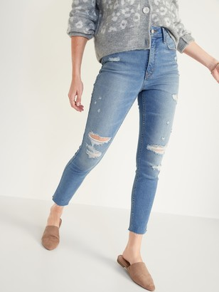 Old Navy Extra High-Waisted Rockstar 360 Stretch Super Skinny Ripped Cut-Off Jeans for Women