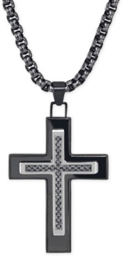 Esquire Men's Jewelry Black Diamond (1/4 ct. t.w.) Cross Necklace in Black Ip over Stainless Steel, Created for Macy's