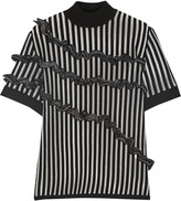 Opening Ceremony Ruffled striped merino wool-blend top