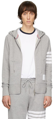 Thom Browne Grey Engineered 4-Bar Classic Zip Hoodie