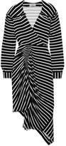 Preen by Thornton Bregazzi Annabel Asymmetric Ruched Striped Stretch-jersey Dress - Black