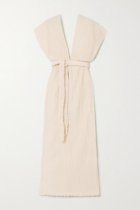Savannah Morrow The Label - The Kamala Belted Crinkled Organic Cotton-gauze Midi Dress - Cream