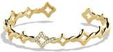David Yurman Venetian Quatrefoil Single-Row Cuff Bracelet with Diamonds in Gold