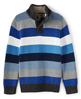 Classic Boys Multi Stripe Button Mock Neck Sweater-Black Fairisle