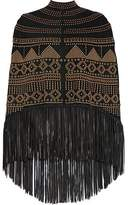 Valentino Fringed Studded Suede Poncho