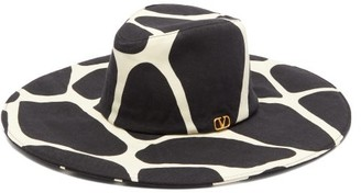 Valentino Wide-brim 1966 Giraffe-print Wool Hat - Black White