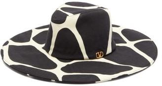 Valentino Wide-brim 1966 Giraffe-print Wool Hat - Womens - Black White
