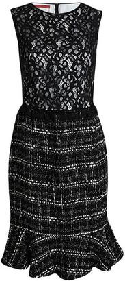 Carolina Herrera Monochrome Lace and Tweed Sleeveless Dress L