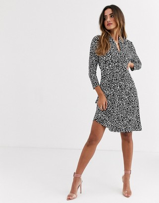 French Connection abstract animal print tie waist dress-Black
