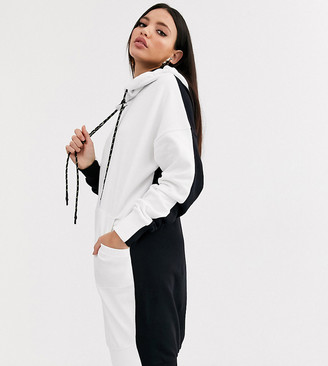 Asos DESIGN Tall color block hoodie sweat dress