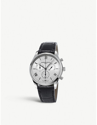 Frederique Constant FC-292MS5B6 Classics chronograph quartz stainless steel and leather watch