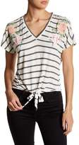Living Doll Tie-Hem Floral Striped Tee