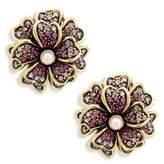 Heidi Daus Flower Faux Pearl and Crystal Layered Earrings