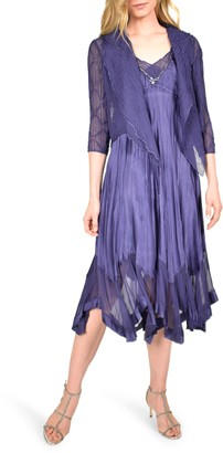 Komarov Beaded Neck Charmeuse Midi Dress with Chiffon Jacket