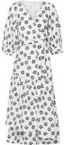 Apiece Apart Bougainvillea Floral-print Cotton And Silk-blend Wrap Dress - White