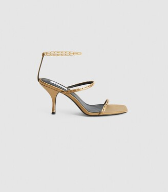 Reiss Magda Chain - Satin Strappy Heeled Sandals in Caramel