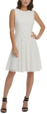 DKNY Lace Overlay Fit & Flare Dress