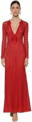 Missoni Long V Neck Lace Knit Lame Dress