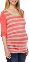 Asstd National Brand Maternity Long-Sleeve Striped Knit Top