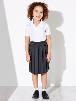 John Lewis & Partners Girls' Easy Care Open Neck Short Sleeve School Blouse, Pack of 2