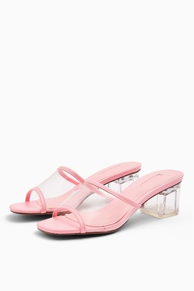 Topshop Womens Dusty Pink Transparent Mules - Pink