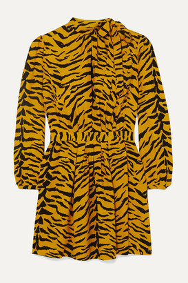 Saint Laurent Zebra-print Crepe Mini Dress - Yellow