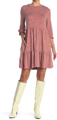 MelloDay Knit Crew Neck 3/4 Sleeve Babydoll Dress