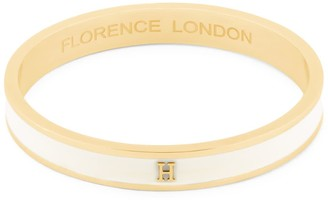 Florence London Initial H Bangle 18Ct Gold Plated With Cream Enamel