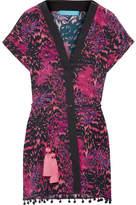 Matthew Williamson Pompom-trimmed Printed Silk Crepe De Chine Kimono - Magenta
